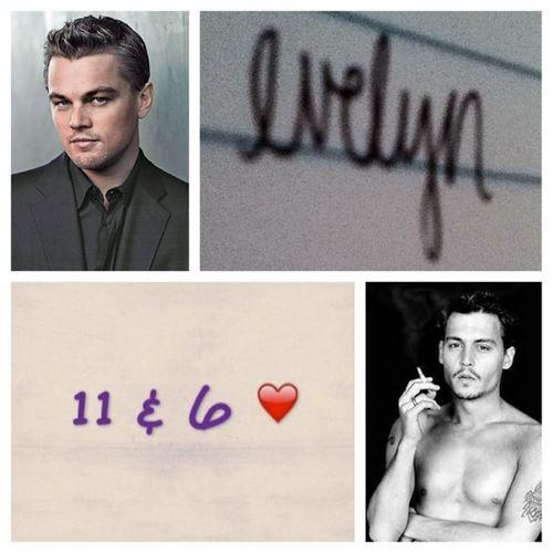 January19 Favoriteactors Luckynumbers Handwriting  name leonardodicaprio johnnydepp 11 6 evelyn <3(: