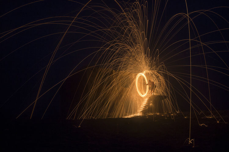Wire wool spinning at night