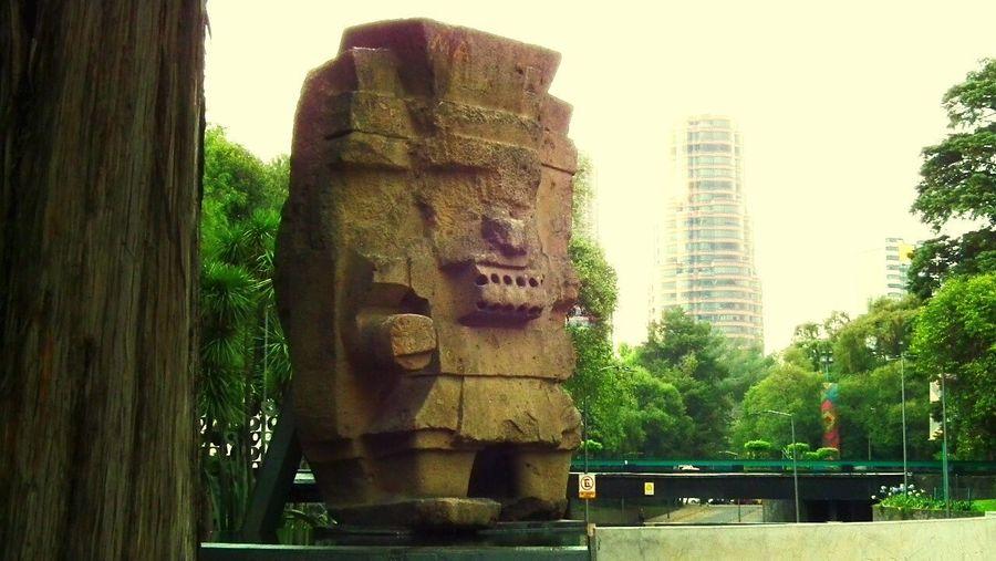 Museo de antropología. Architecture Modern Outdoors Skyscraper Day Tree Statue Sky Df CDMX. Cdmx Business Finance And Industry Street Calle Chapultepec CDMX Mexico Mexico City Travel Destinations Sculpture Built Structure No People