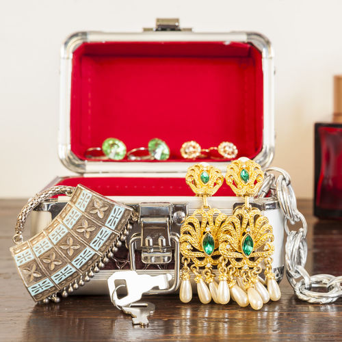 Close-Up Of Jewelry In Box On Table