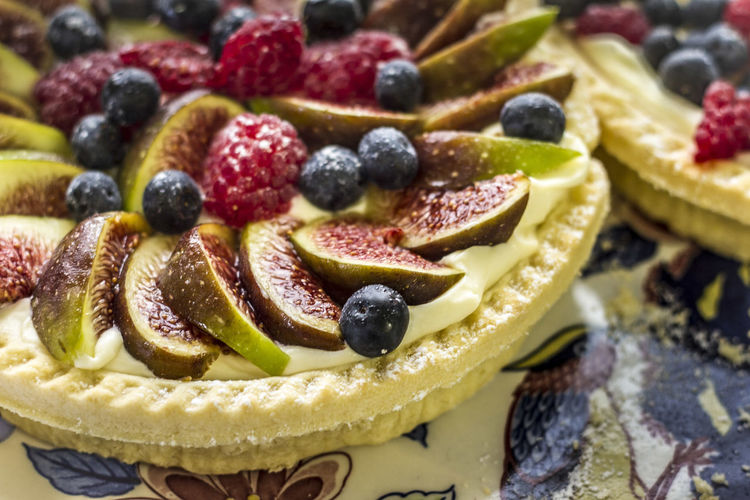 Close-Up Of Fruits On Tart In Plate