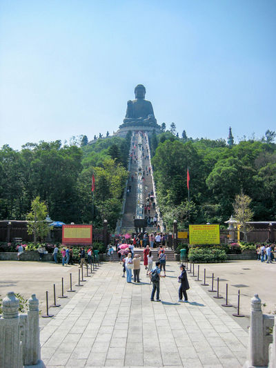 Big Buddha in Hong Kong - Steps up to the Big Buddha Big Buddha Hong Kong Architecture Built Structure Crowd Day Group Of People History Incidental People Large Group Of People Men Nature Outdoors Plant Real People Sky The Past Tourism Tourist Travel Travel Destinations Tree Women