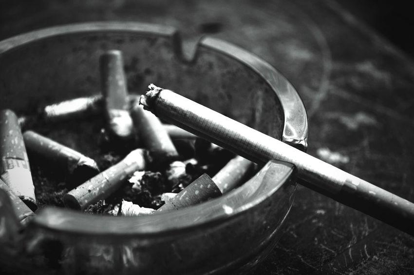 Smoke Break Smoking Ashtray  B&w Macro Cigarette  Black And White