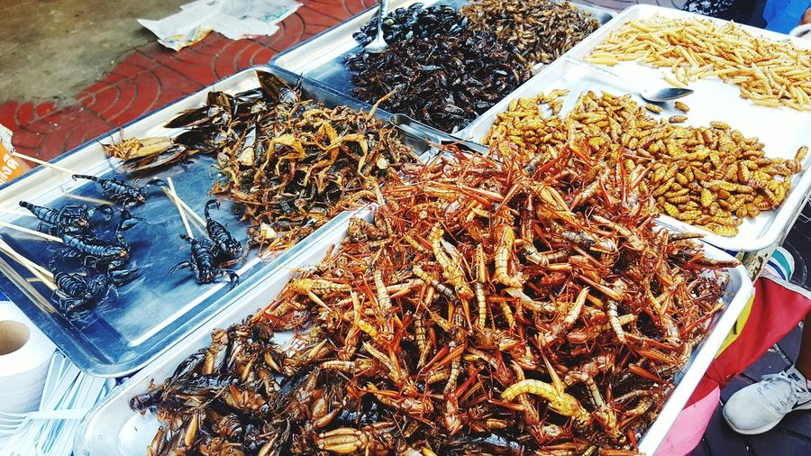 High Angle View For Sale Food And Drink Market Indoors  Food Eat Me Eat Me If You Can Insect Scorpion Cockroaches Bangkok Thailand Chinatown Food Market Visual Feast