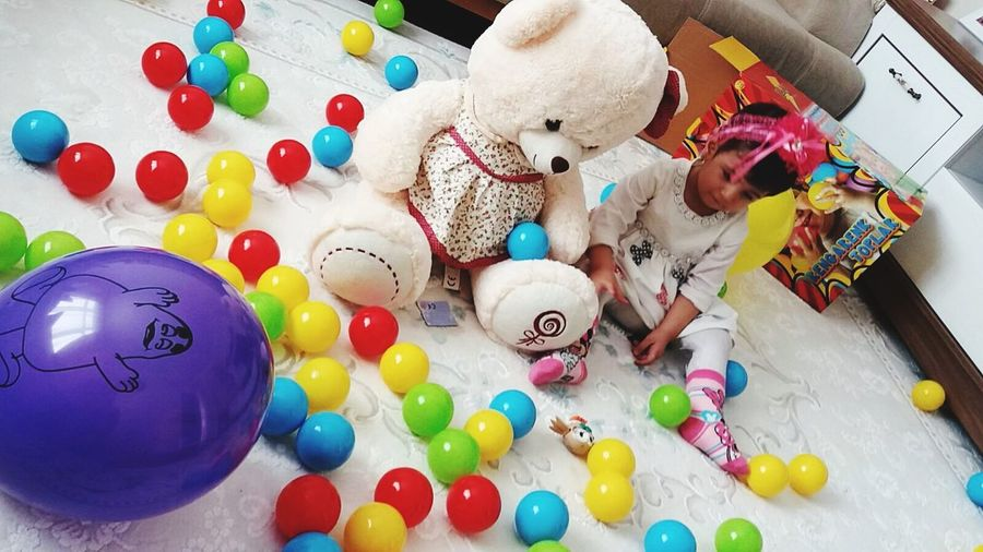 Tedybear Celebration Balloon Indoors  Multi Colored High Angle View Christmas Holiday - Event