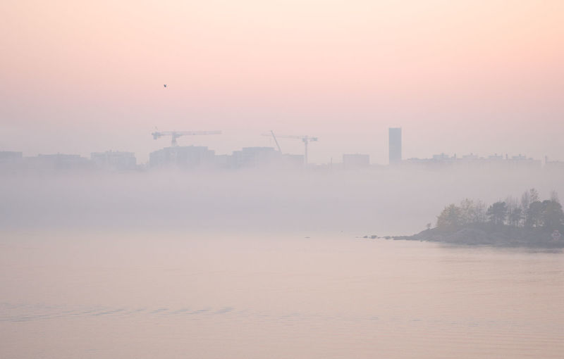 Sunset and haze makes the world pink Sea Sunset Nature Bird Construction Fog Silhouette Foggy Pink Sky Cityscape Waves Peaceful Horizon Haze Pink Sunset Pink Clouds Peninsula Hazy  Lonely Bird No People Pink Color Silhouettes Of A City Orange Color Crane - Construction Machinery Gh5