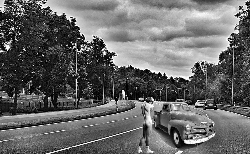 Editing Street Road Cars One Person Only Men Crazy Nakedhuman Trees Cloud - Sky Black And White