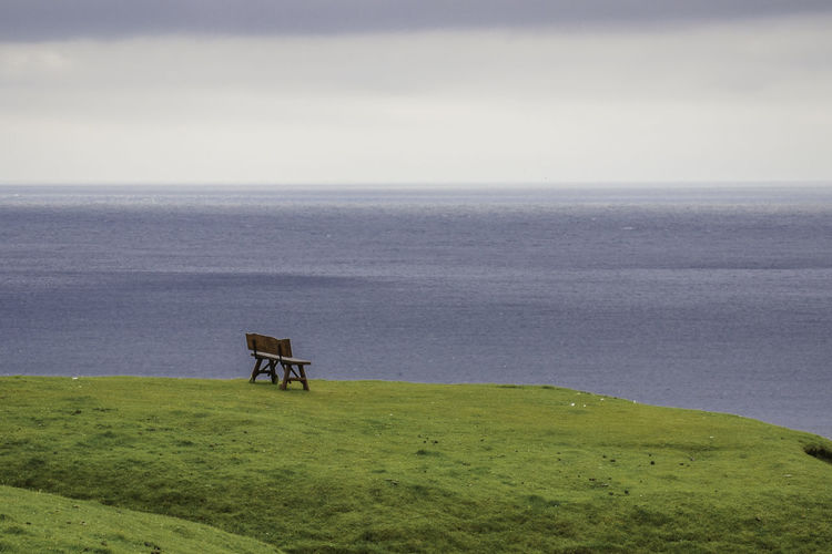 Ways Of Seeing Bench Gasadalur Grass Faroe Islands Outdoors Sea Solitude Tranquility Water #FREIHEITBERLIN
