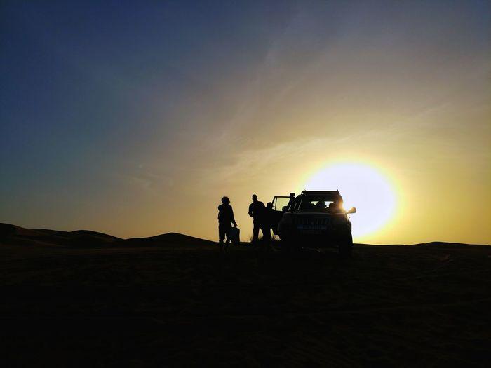 Erg chebbi The Great Outdoors - 2018 EyeEm Awards The Traveler - 2018 EyeEm Awards Morocco Photos Sunpark Silhouette Sunset People Togetherness Outdoors Sky Nature Day Sahara Sahara Desert Travel Jeep Desert Adventure Journey Streamzoofamily