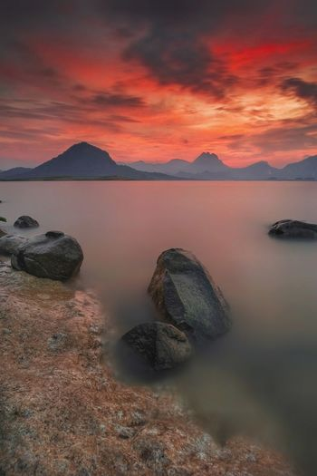 Beautiful sunset at Jatiluhur Dam Rock Beautiful Beautiful Sky Beautiful Sky And Clouds Beautiful Sky And Sea Long Exposure Smooth Dam Nature Landscape Water Sea Sunset Mountain Beach Sky Landscape Horizon Over Water