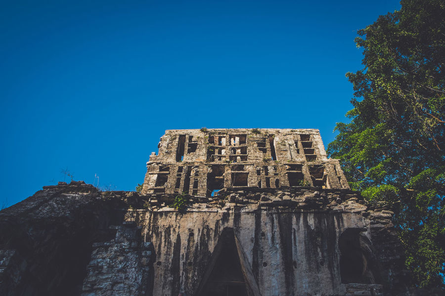 Ancient Ancient Ancient Architecture Ancient Civilization Archaeology Architecture Blue Building Exterior Built Structure Chiapas Clear Sky Day History Low Angle View Mexico No People Old Ruin Outdoors Palenque Palenque, Chiapas Piramid Piramide Sky The Past Travel