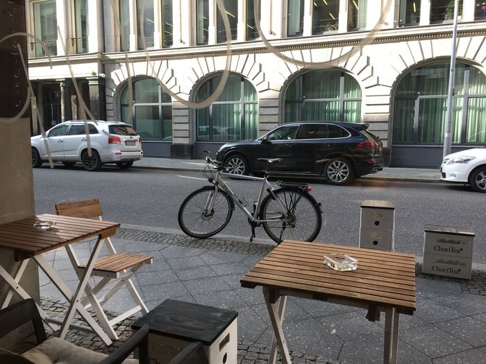 Bicycle parked in row