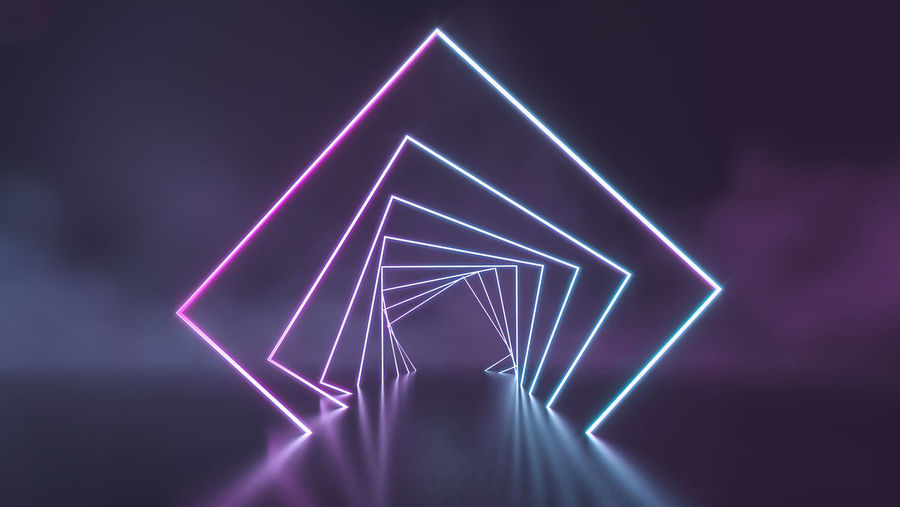 Low angle view of illuminated light painting at night
