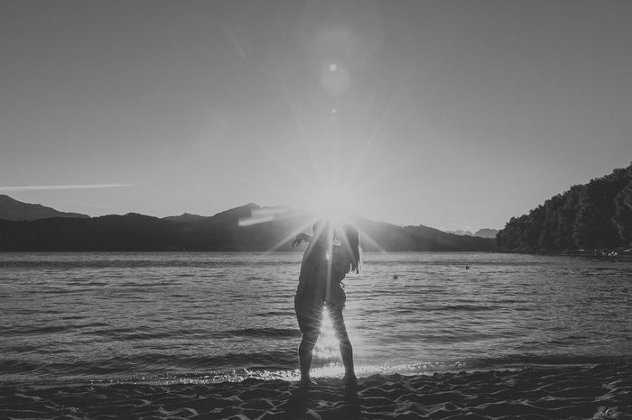 Argentina Bahia Manzano Beauty In Nature Couple Full Length Lake Love Love ♥ Mountain Mountains Nature One Person Outdoors Peace And Quiet Real People Silhouette Sky Standing Sun Sunbeam Sunset Vacation Time Vacations Villa La Angostura Water