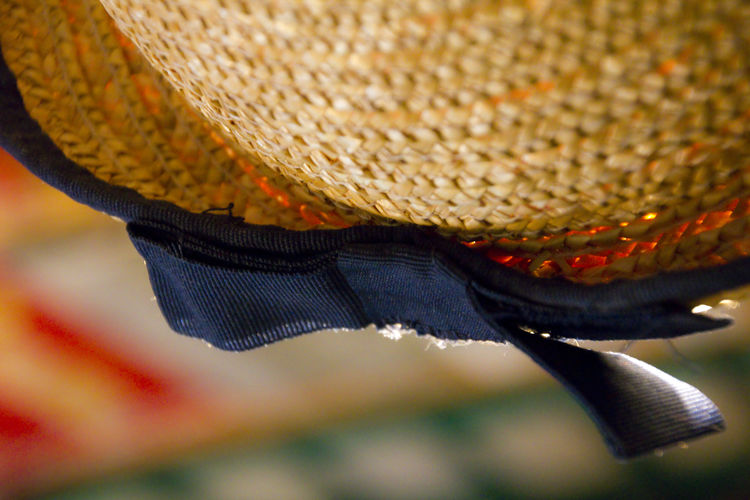 Too small straw hat! Blue Bow Bow Close-up Colorful Colors Detail Hat Headwear Lieblingsteil Light No People Olkihattu Rusetti Straw Straw Hat