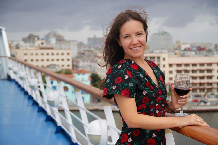 Cruise Ship Cuba Havana Havanna, Cuba Wine Glass Wine Moments Architecture Beautiful Woman City Happiness Leisure Activity Looking At Camera One Person Outdoors Portrait Railing Smiling Standing Young Adult Young Women