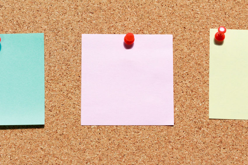 Adhesive Note Blank Bulletin Board Business Close-up Communication Copy Space Empty Indoors  Message No People Note Office Office Supply Paper Red Reminder Still Life Straight Pin Thumbtack White Color