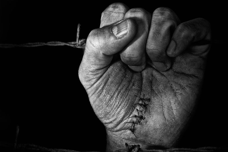 Cropped hand holding barbed wire