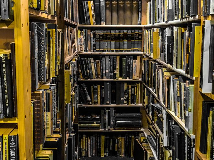 Library Book Library No People Architecture Metal Built Structure Full Frame Pattern Indoors  Yellow