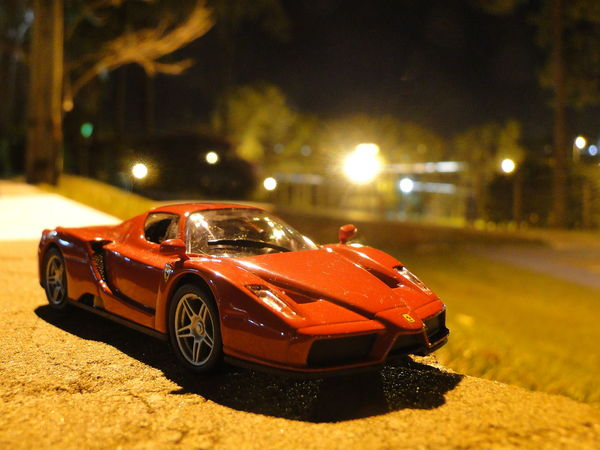 Small car in the night! Diecast Ferrari HotWheels Modelcar Nightphotography Diecastcars Diecastphotography Night
