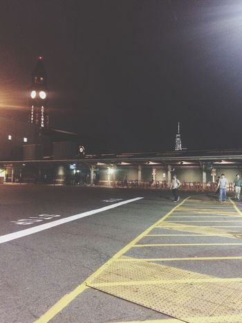 Parking Lot Trainstation Night