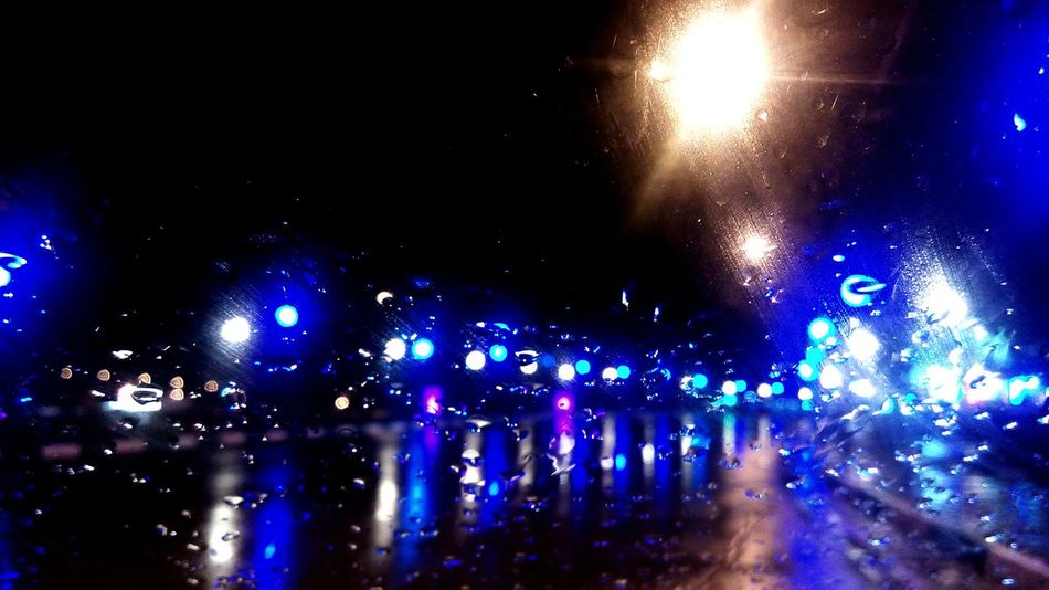 Night Illuminated Nightlife Rainy Night Rainy Night Drive