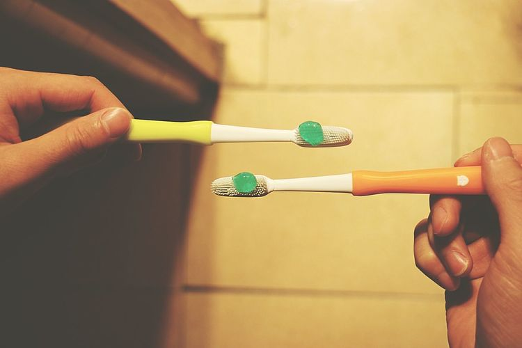 Human Hand Toothbrushes Adults Only Night Famillytime Photography Night Photography