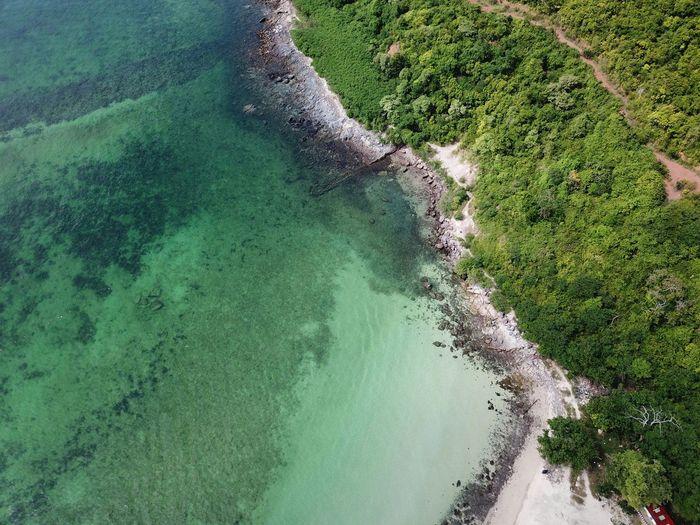 High angle view of sea shore