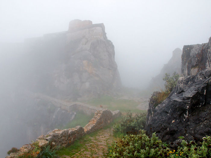 Beauty In Nature Castle Ruin Cliff Day Fog Foggy Greece Idyllic Landscape Mountain Nafplio Nature Outdoors Physical Geography Rock Rock - Object Rock Formation Rocky Mountains Scenics Sky The Way Forward Tranquil Scene Tranquility Travel Destinations Weather
