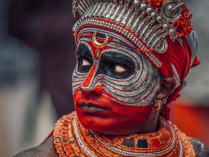 Theyyam of Kannur / Kerala - India India Nature Theyyam Theyyams Of Kannur Kerala Kerala The Gods Own Country ;) Kerala India Travel Destinations Indian Culture  India Travelphotography Travel Photography Travelling Human Representation Art And Craft Representation Close-up Sculpture Statue One Person Male Likeness Focus On Foreground Red Religion Headshot Indoors  Creativity Spirituality Human Face Belief