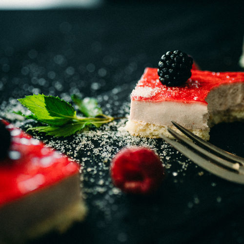 Food Berry Fruit Food And Drink Fruit Freshness Dessert Red Healthy Eating Sweet Food Sweet Selective Focus Cake Indulgence Close-up Leaf Still Life No People Indoors  Strawberry Temptation Herb Mint Leaf - Culinary
