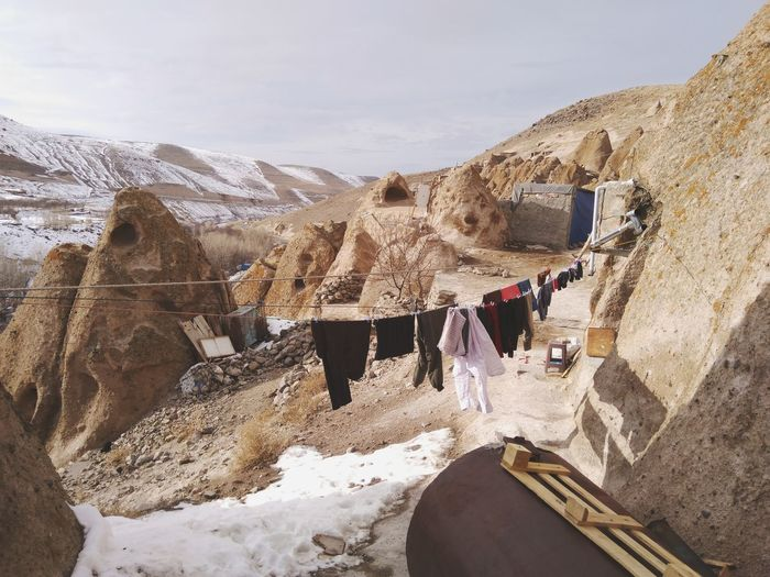 Laundry Drying On Clothesline By Rock Formation