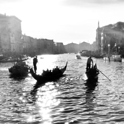 Gondolas Black & White Streetphotography Venezia Blackandwhite