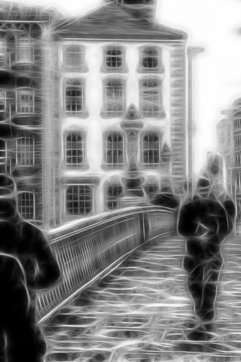 People walking over bridge fractal Architecture Blackandwhite Blackandwhite Photography Building Exterior City Day Fractal Fractalius Fractals Outdoors People Real People