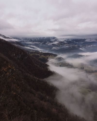 Cloud wave Sanctuary  Italy Bergamo Winter Fall Autumn Grey Sky Cloud Mountain Beauty In Nature Sky Land Cloud - Sky Tranquility Tranquil Scene Scenics - Nature Nature Environment No People Day Landscape Non-urban Scene Outdoors