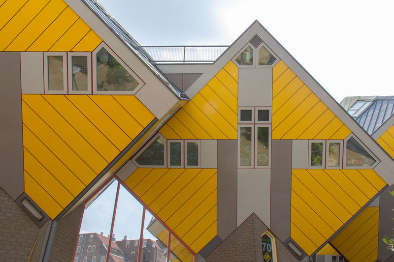 Creative House Creative Idea No People Square Shape Square House Cube Cube Houses City Modern Yellow Roof Façade Pyramid Sky Architectural Feature Architectural Detail Architectural Design Architecture And Art Zigzag Country House