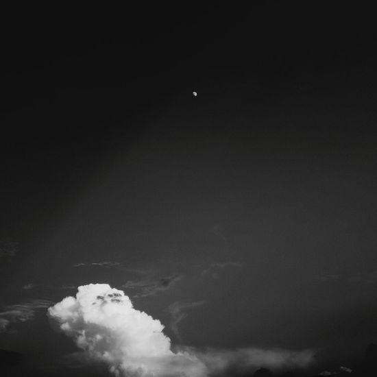 Moon Cloud - Sky Black & White Quite Sky