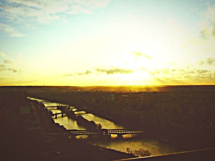 From The Rooftop Paris Paris, France  River Sunset Aerial Shot