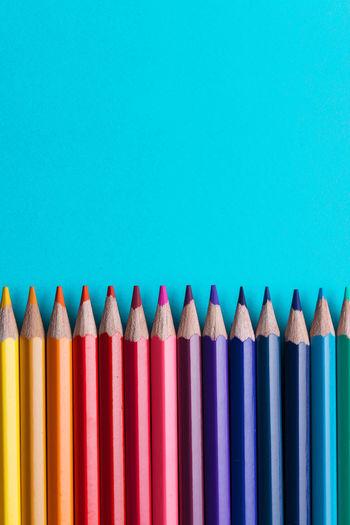 Set of Colorful Colored Pencils or Crayons multicolor Copy Space Desk Spectrum Backgrounds Blue Brush Colored Pencil Colorful Decoration Design Different Education Effect Equipment Geometric Gradiation Idea Mix Multi Colored Palette Pencil Rainbow School Studio Shot Variation