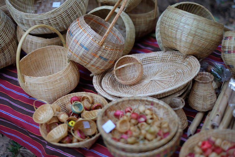 High angle view of wicker baskets for sale in market