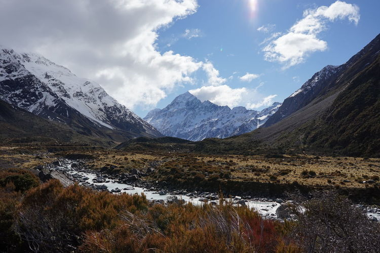Scenic view of mt cook against cloudy sky
