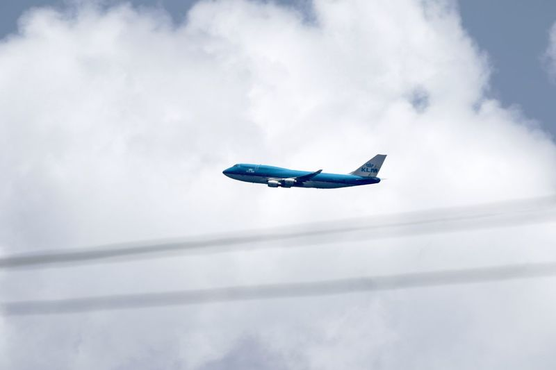 KLM Airplane Blue Cloud - Sky Day Flying Jumbo Jet Low Angle View Mid-air No People Outdoors Sky Transportation