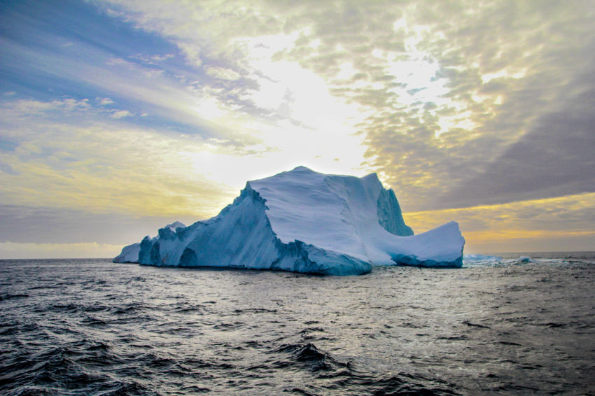 Welcome to Antarctica. Antarctica Beauty In Nature Blue Calm Cloudy Cold Temperature Travel Explore Iceberg Iceberg - Ice Formation Icebergs Majestic Nature No People Ocean Outdoors Scenics Sea Silence Tranquil Scene Tranquility Water Wilderness Wildlife & Nature Yellow