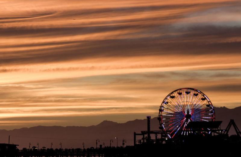 Scenic views in California Sunset Sky Orange Color Beauty In Nature Nature Cloud - Sky Scenics - Nature No People Outdoors Beach Santa Monica Santa Monica Pier