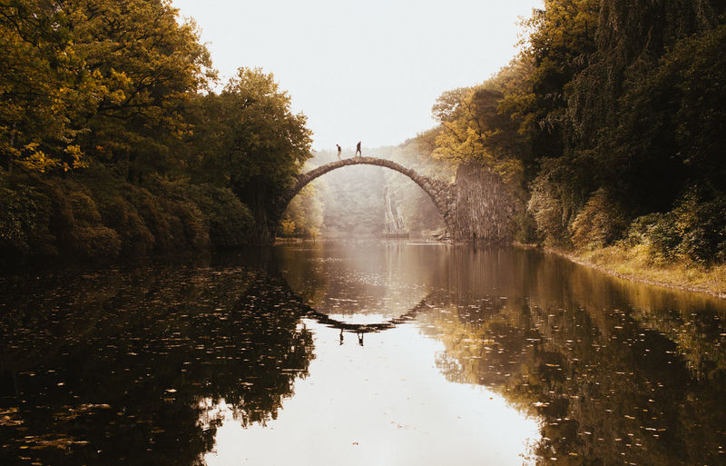 Water Reflection Tree Bridge - Man Made Structure Day Outdoors Sky Symmetry Nature No People Kromlau Bridge