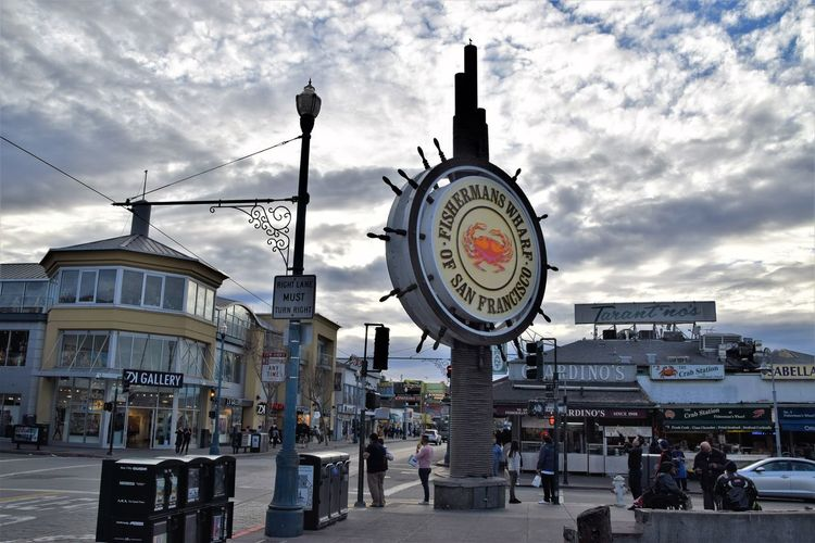 FISHERMANS WARF California San Francisco Fishermanswharf City Clock Crowd Clock Face Clock Tower Ferris Wheel Sky Architecture Cloud - Sky