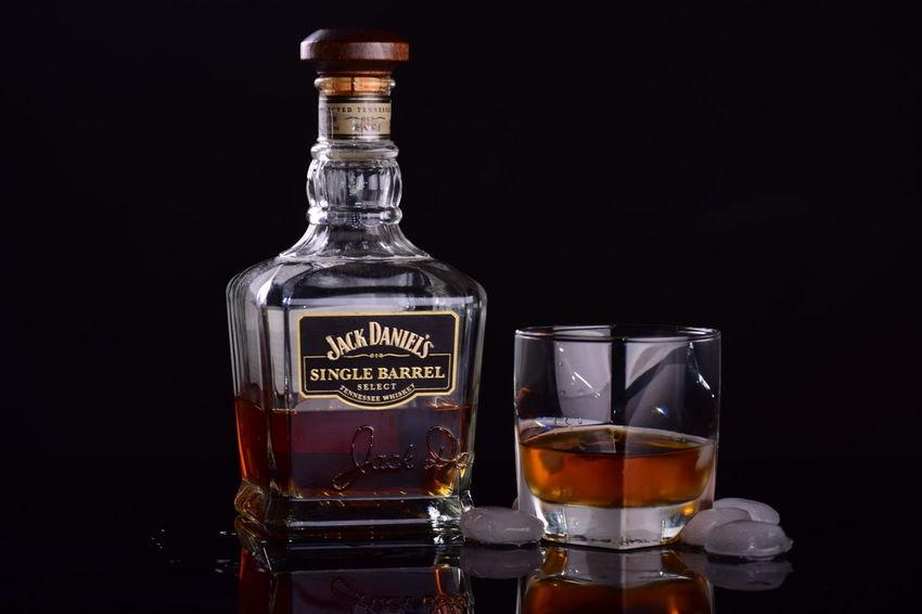 JackDaniel's Alcohol Black Background Bottle Drink Ice Cubes Jackdaniels Studio Shot