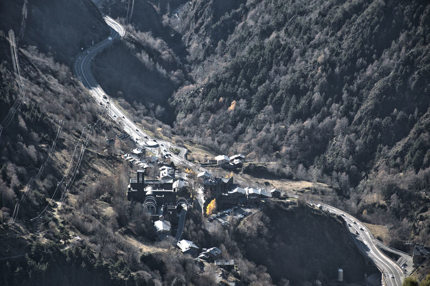 Aerial view of a road in Andorra. Mountain Environment Landscape Outdoors High Angle View Mountain Range Valley Road Pyrenees