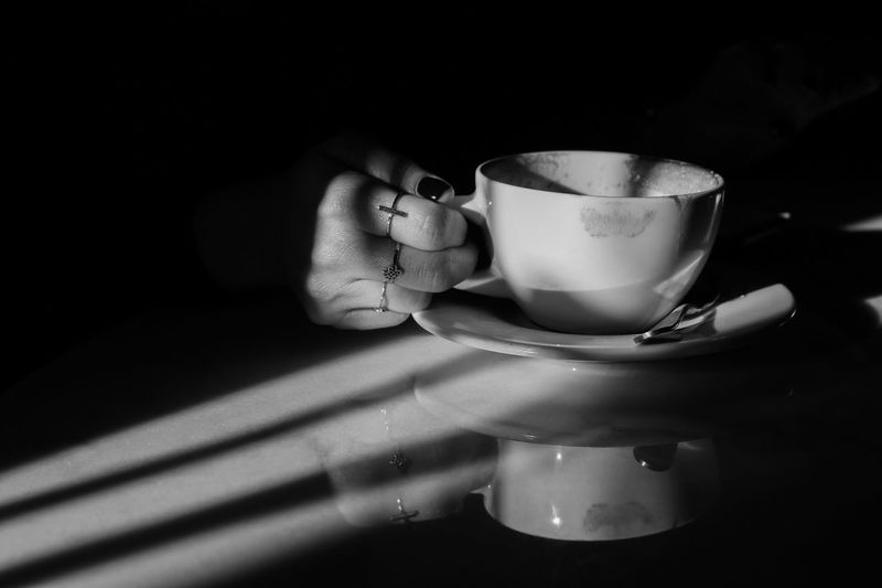Shadow Women Jewelry Ring Lifestyles Monochrome Hands Light And Shadow Black And White Cup Drink Refreshment Mug Coffee Food And Drink Indoors  Coffee Cup Coffee - Drink Still Life International Women's Day 2019 My Best Photo