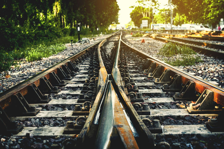 Diminishing view of railroad tracks